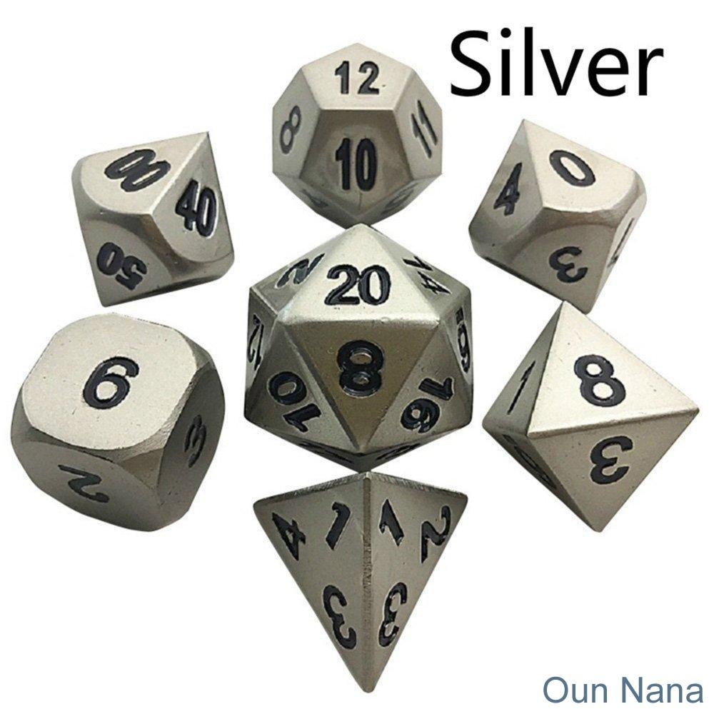 Oun Nana Metal Polyhedral 7-Die Dice Set with Case - Silver