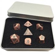 Oun Nana Metal Polyhedral 7-Die Dice Set with Case - Bronze Metal Dice