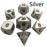 Oun Nana Metal Polyhedral 7-Die Dice Set with Case - Silver Metal Dice