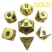 Oun Nana Metal Polyhedral 7-Die Dice Set with Case - Gold Metal Dice