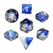 Oun Nana Polyhedral 7-Die Dice Set-Blue-Steel with White